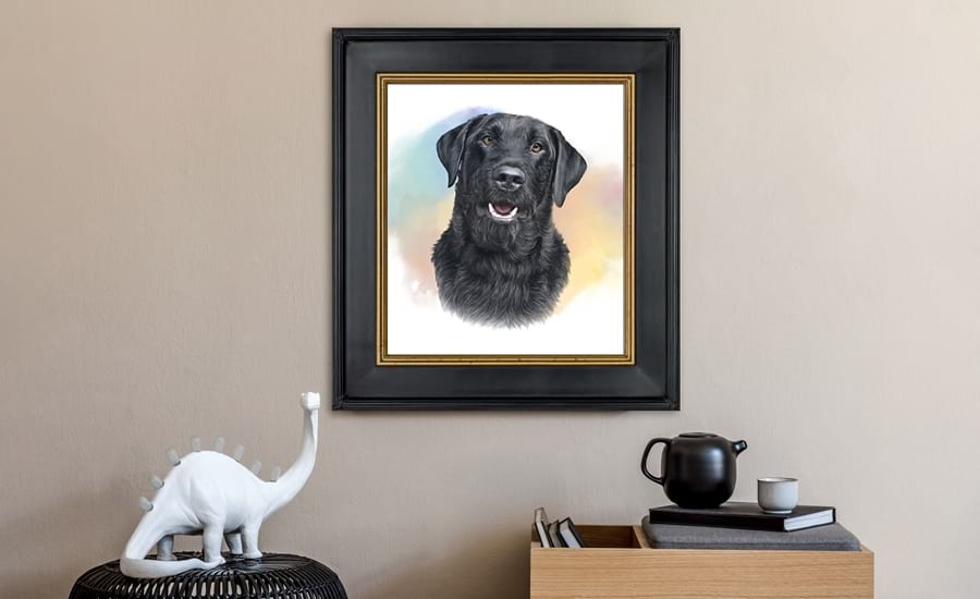 Fine art picture frames with painting of dog