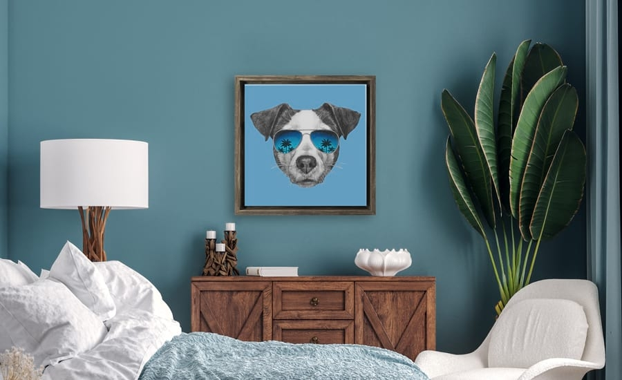Canvas floater picture frame with art of dog in sunglasses