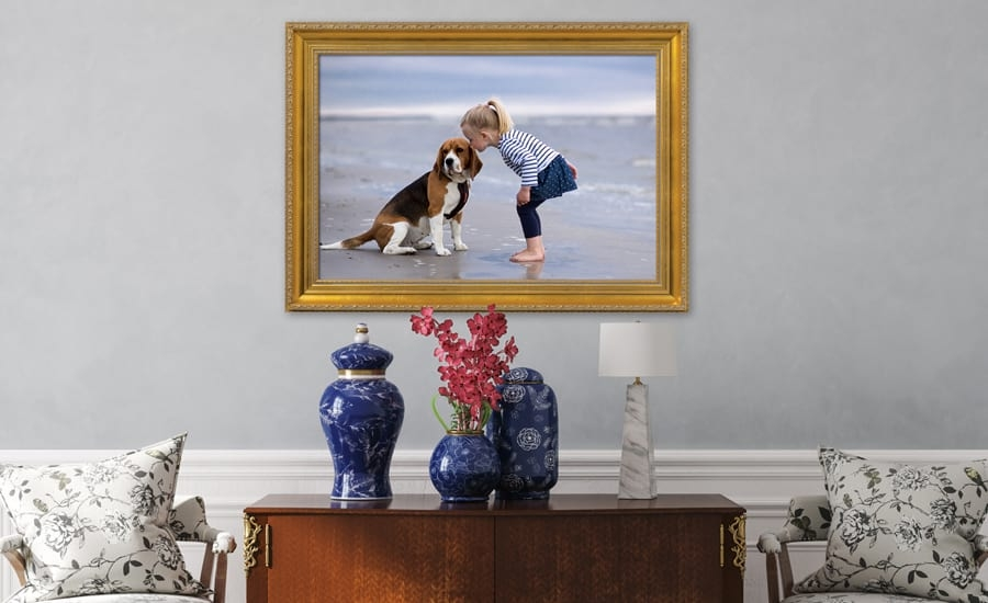 Ornate picture frame with dog and boy on the beach