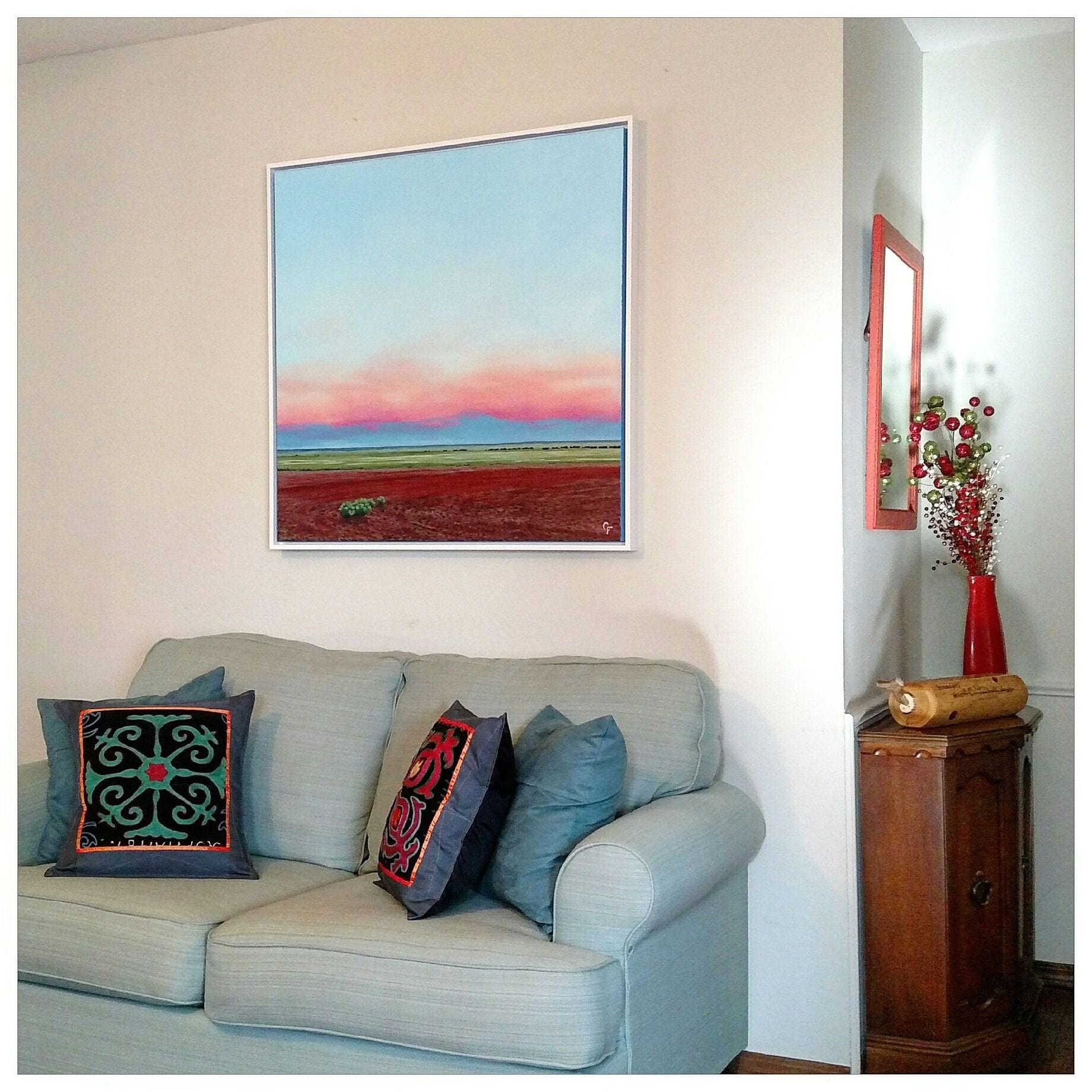 Canvas Art Framed on Wall in Room Environment