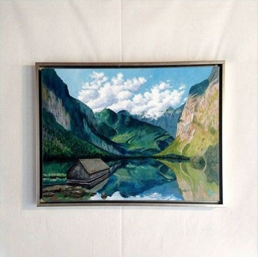 Painting of the Alps Framed in Canvas Floater Picture Frame