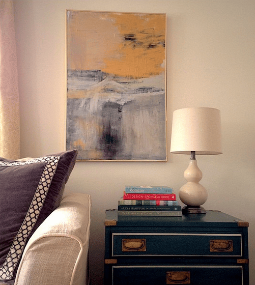 Abstract Painting in Gold Canvas Floater Frame in Living Room