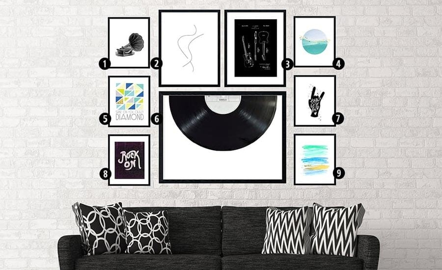 Modern Art with White Mats and Black Frames