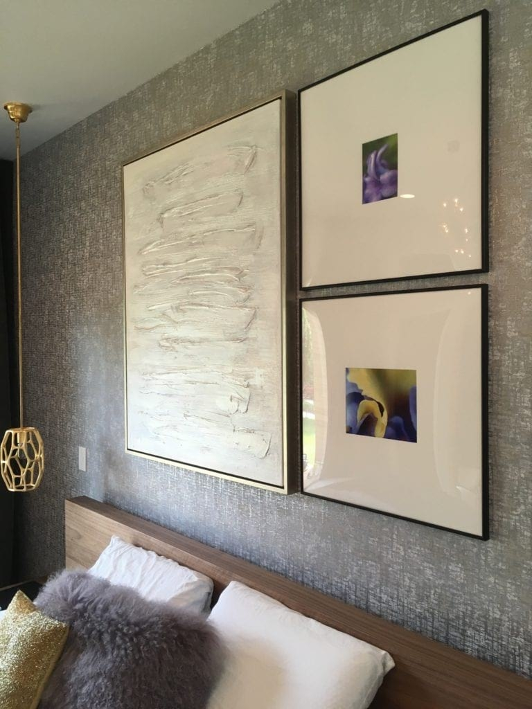 Photos Printed and Framed with Large Mats in Bedroom