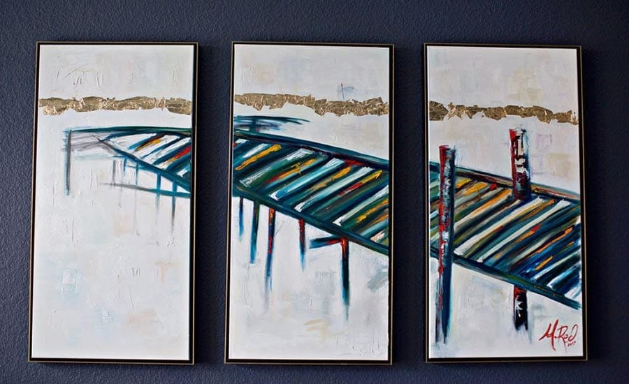 Triptych Canvas Paintings in Canvas Floater Frames