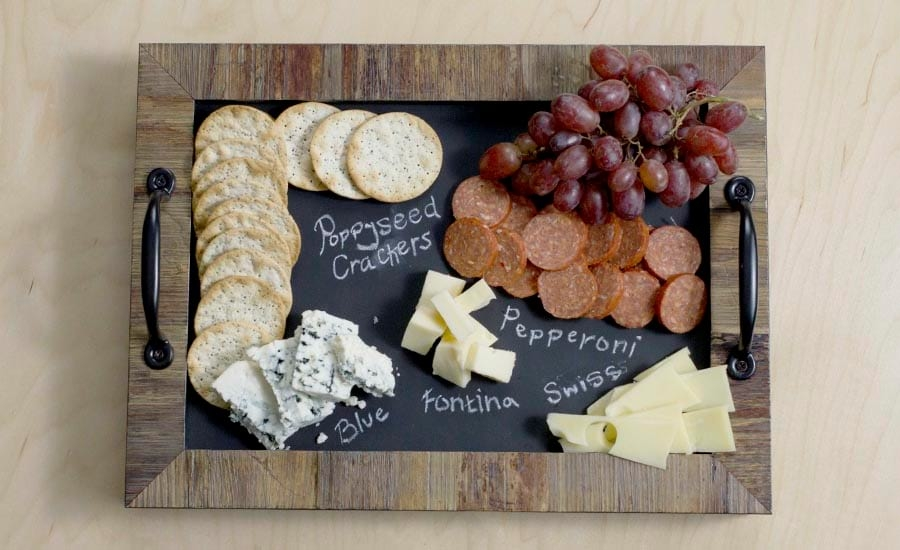 The Finished product a Chalkboard Cheeseboard Tray