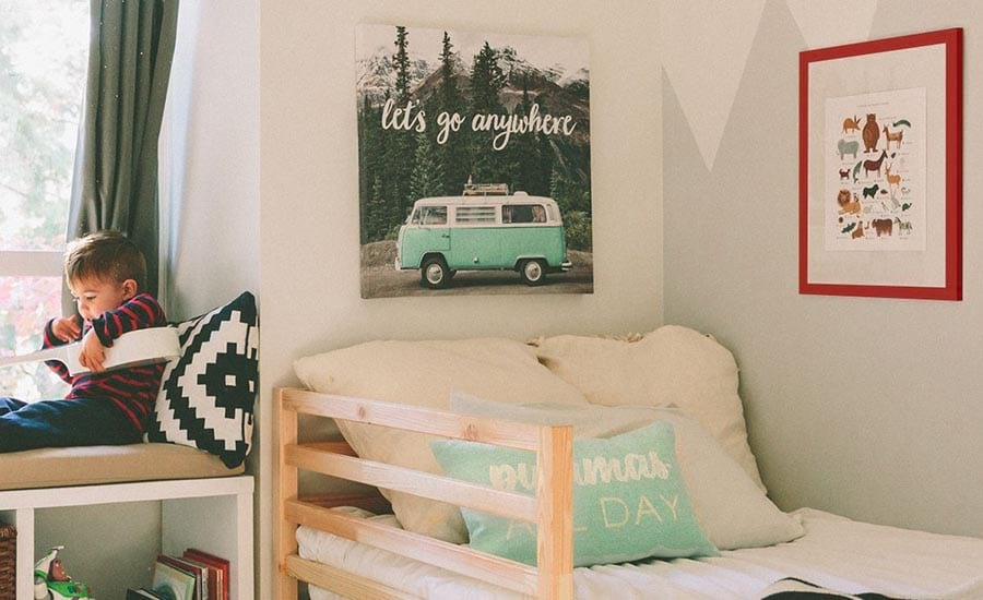 Kids room with colorful frame