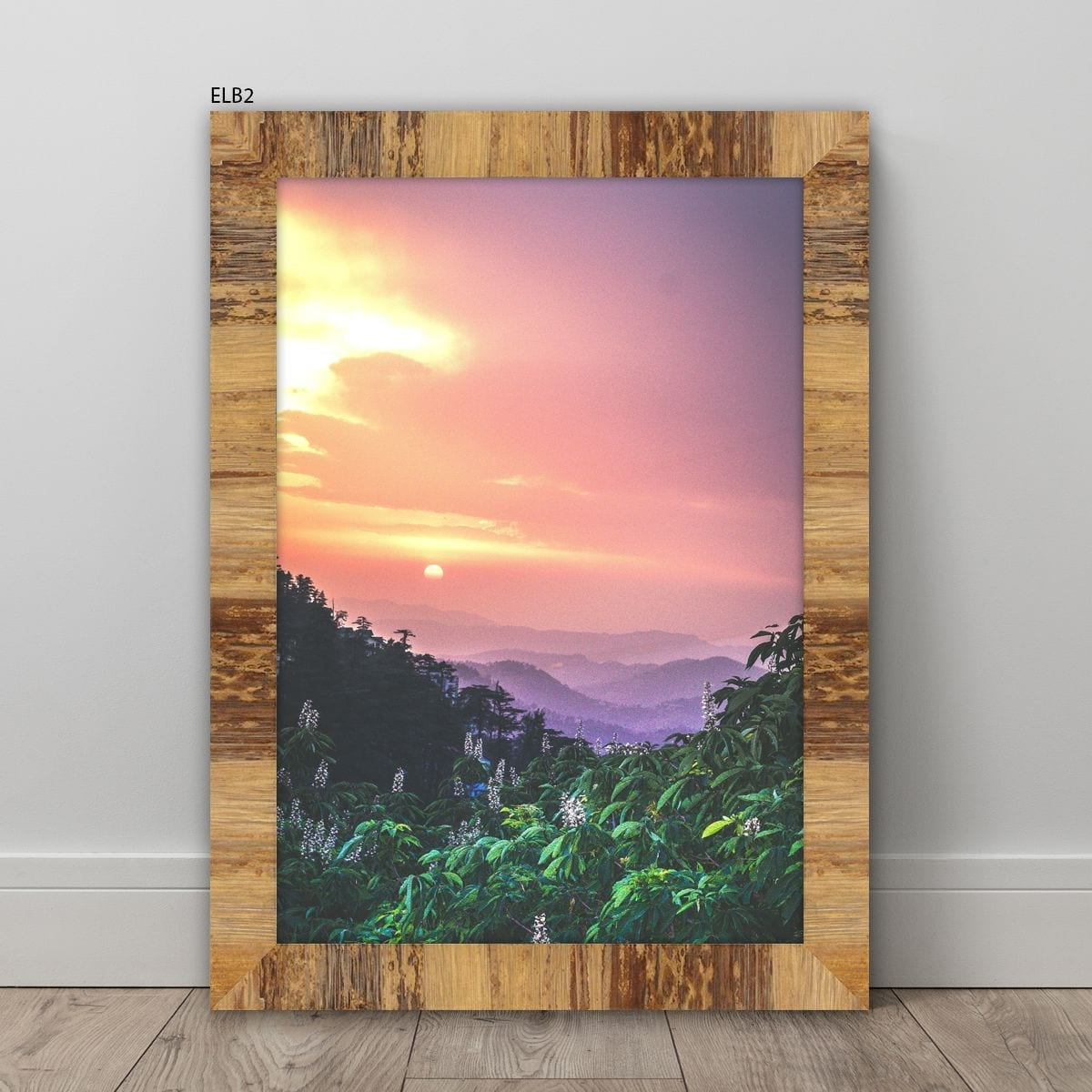 Sunset Photo Framed with a Natural Patterned Frame