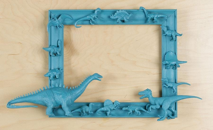 Painted Picture Frame with Toy Dinosaurs