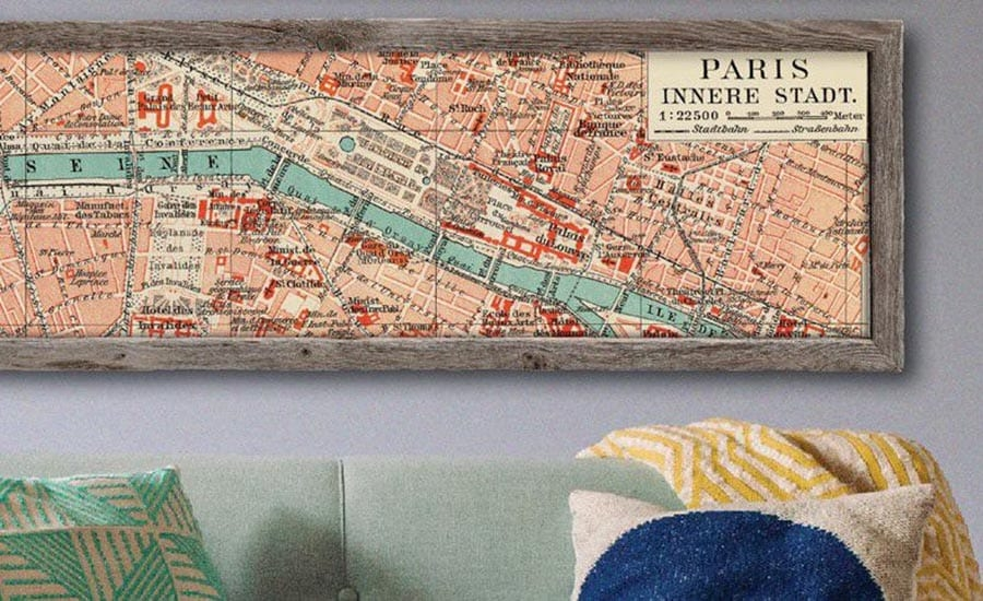 Vintage Map Framed in Barnwood Picture Frame