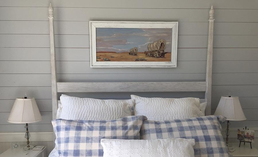 Barnwood Picture Frame Hanging on Shiplap Wall in Bedroom