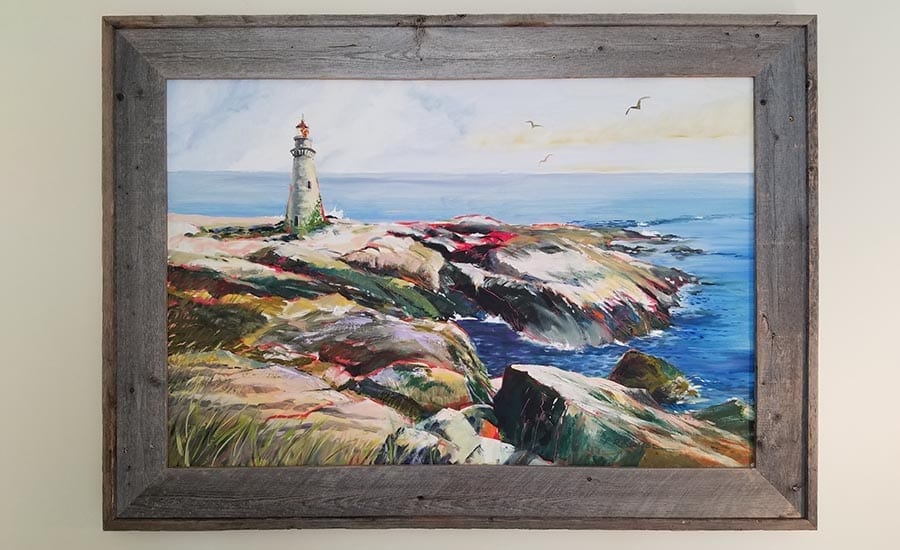 Painting of Lighthouse Framed in Barnwood Picture Frame