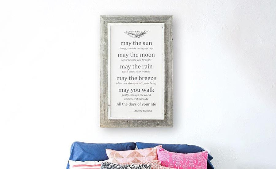 Typography Framed in Barnwood Picture Frame