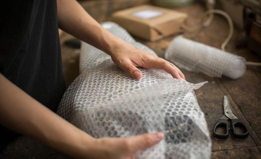 Placing Bubble Wrap Around a Package