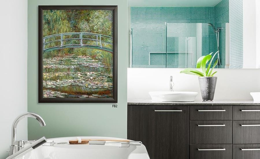 Monet Painting Print Custom Framed in Bathroom