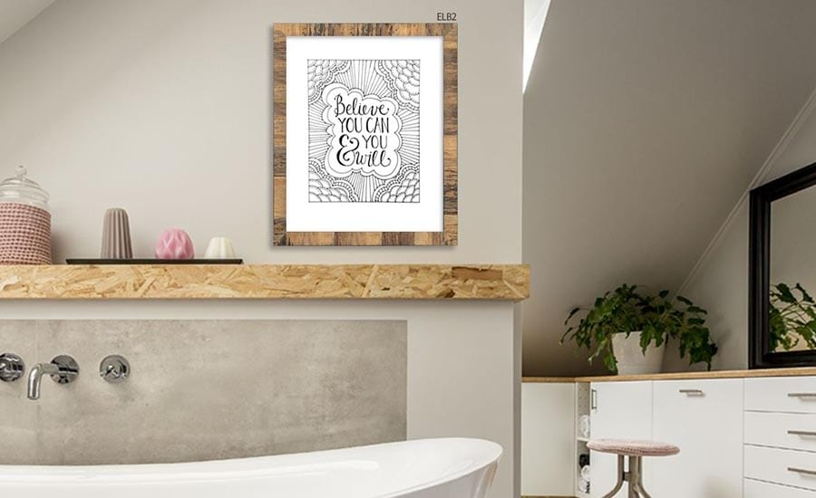 Typography Art in Banana Bark Frame in Bathroom