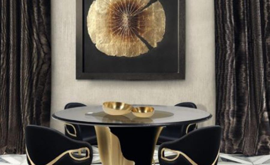 Gorgeous gold floral art piece by KOKET in their showroom