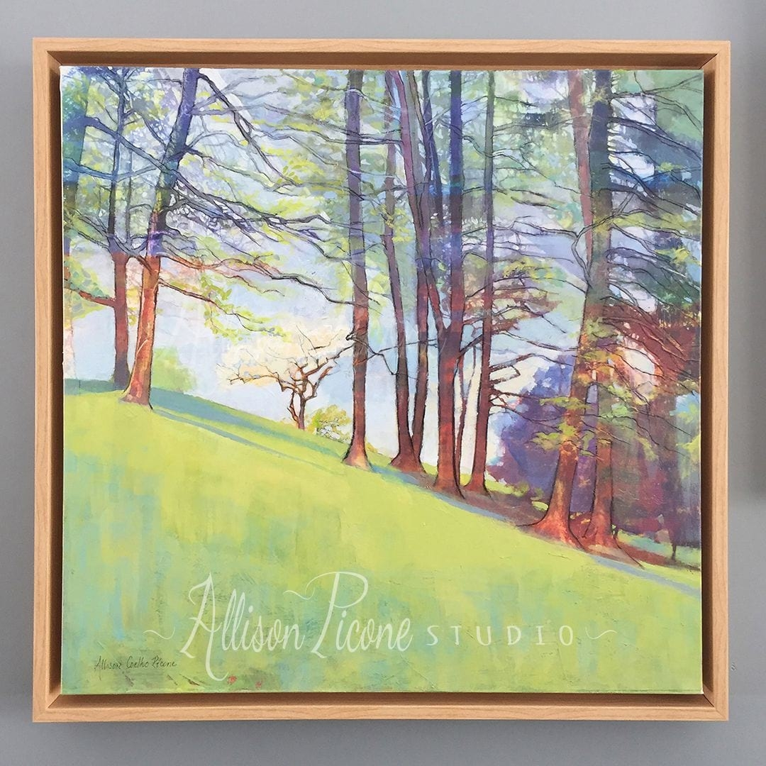 Nature Painting in Wood Canvas Floater Frame