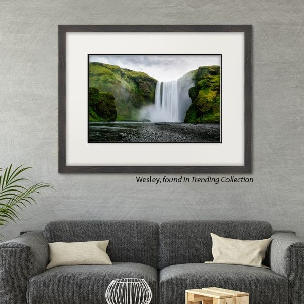 Waterfall Photo in Double Mat and Grey Picture Frame