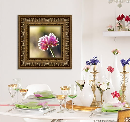 Pink Flower Photo in Ornate Gold Picture Frame in Sitting Room